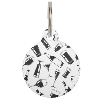 Black Pattern Drinks and Glasses Pet Tag