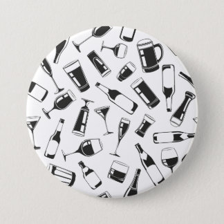 Black Pattern Drinks and Glasses Pinback Button