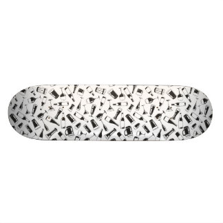 Black Pattern Drinks and Glasses Skateboard Deck