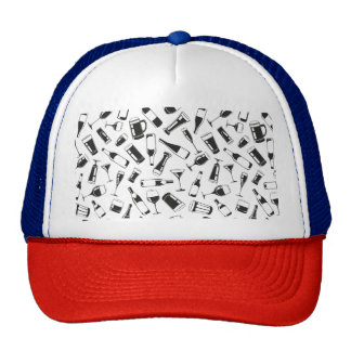 Black Pattern Drinks and Glasses Trucker Hat