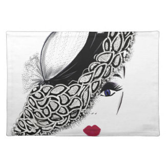 black pattern Hat Lady Cloth Placemat