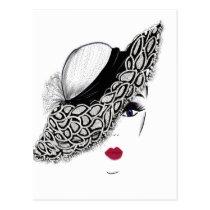 black pattern Hat Lady Postcard