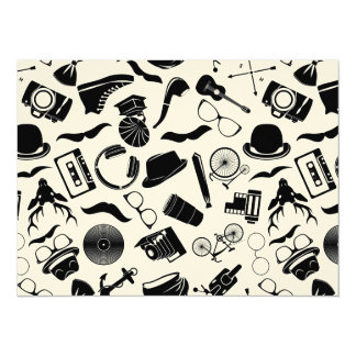 Black Pattern Hipster Card