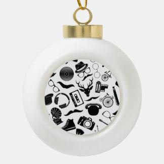 Black Pattern Hipster Ceramic Ball Christmas Ornament