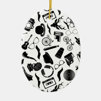 Black Pattern Hipster Ceramic Ornament