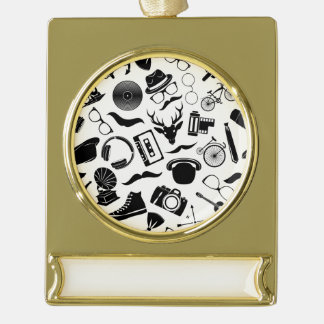 Black Pattern Hipster Gold Plated Banner Ornament