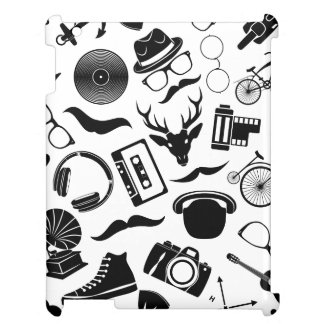 Black Pattern Hipster iPad Case