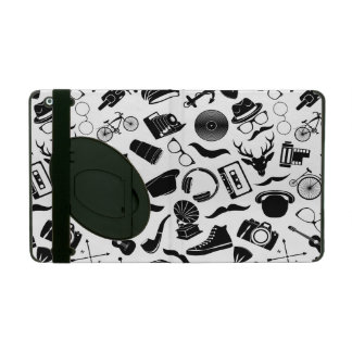 Black Pattern Hipster iPad Cases