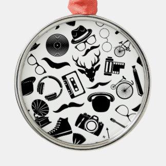 Black Pattern Hipster Metal Ornament