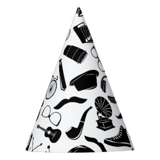 Black Pattern Hipster Party Hat