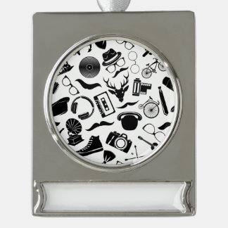 Black Pattern Hipster Silver Plated Banner Ornament
