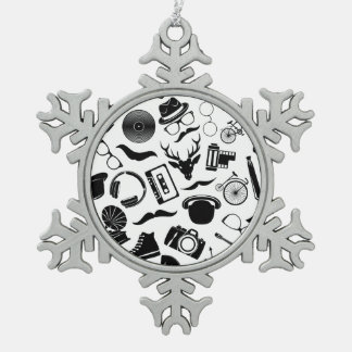 Black Pattern Hipster Snowflake Pewter Christmas Ornament