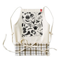 Black Pattern Hipster Zazzle HEART Apron