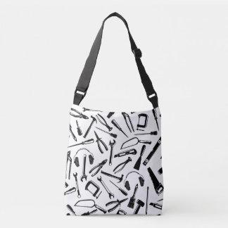 Black Pattern Tools Crossbody Bag