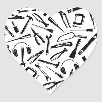 Black Pattern Tools Heart Sticker