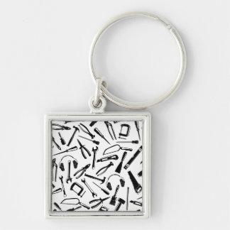 Black Pattern Tools Keychain