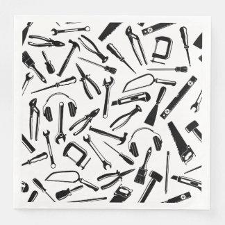 Black Pattern Tools Paper Dinner Napkin