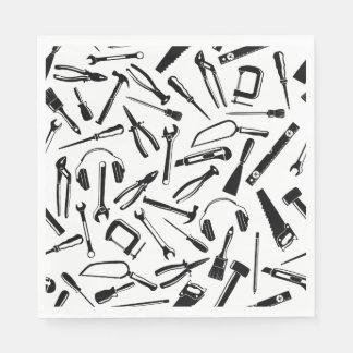Black Pattern Tools Paper Napkin