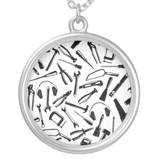 Black Pattern Tools Silver Plated Necklace