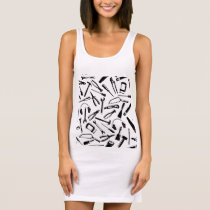 Black Pattern Tools Sleeveless Dress