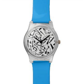 Black Pattern Tools Wrist Watch