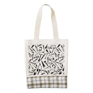 Black Pattern Tools Zazzle HEART Tote Bag
