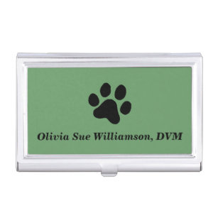 Paw print business card holders cases zazzle black paw print business card holder colourmoves