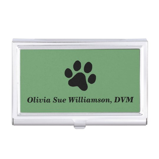 Black Paw Print Business Card Holder