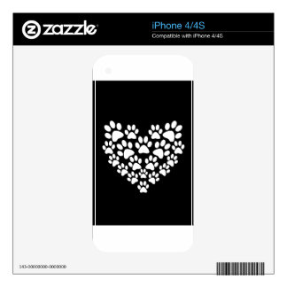 Black Paw Print Heart - Choose Paw Color iPhone 4 Skin