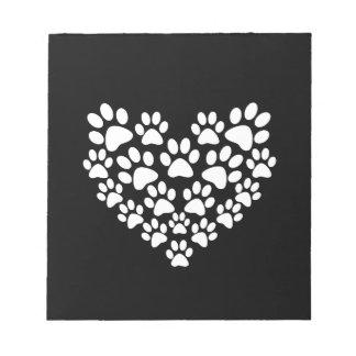 Black Paw Print Heart
