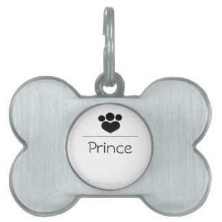 Black Paw Print Heart Personalized Pet ID Tag
