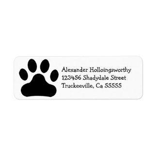 Black Paw Print Label