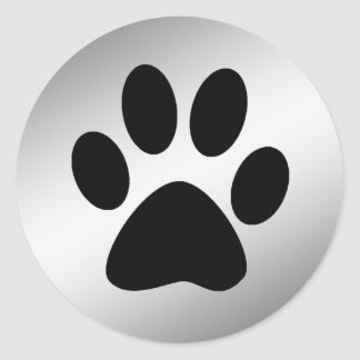 BLACK PAW PRINT ON SILVER ROUND STICKER