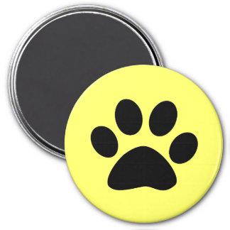 Black Paw Print on Yellow 3 Inch Round Magnet