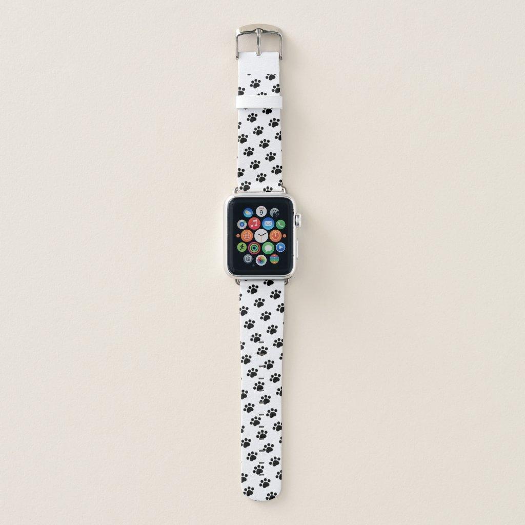 Black Paw Print Pattern Apple Watch Band