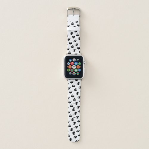 Black Paw Print Pattern Apple Watch Band