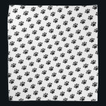 """Black Paw Print Pattern Bandana<br><div class=""""desc"""">This item displays a black paw pattern on a white background. This is a great gift for cat owners,  dog owners,  veterinarians,  vet techs,  vet assistants,  and dog walkers.</div>"""