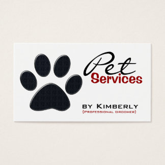 Black Paw Print Pet Grooming Business Cards