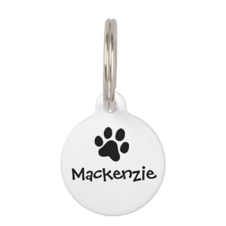 Black Paw Print Pet ID Tag
