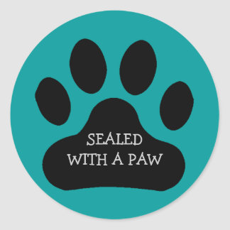 Black Paw Print Sealed With A Paw Customize Color Classic Round Sticker