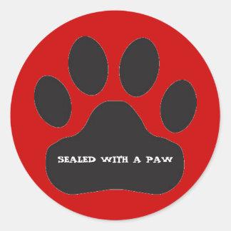 Black Paw Print- Classic Round Sticker