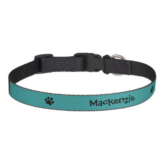 Black Paw Print with Aqua Background Personalized Pet Collar