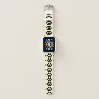 Black Paw Prints Abstract Pattern on Pale Yellow Apple Watch Band
