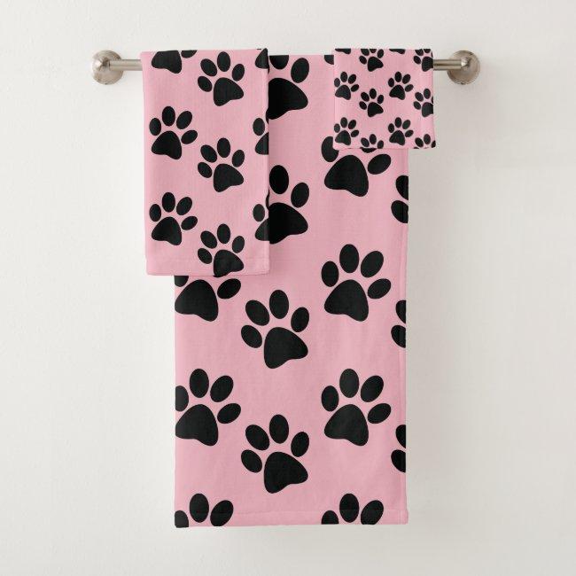 Black Paw Prints Design Bath Towel Set