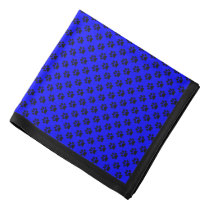 Black Paw Prints on Blue, Black Border Bandana