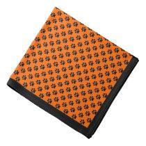 Black Paw Prints on Orange, Black Border Bandana