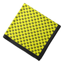Black Paw Prints on Yellow, Black Border Bandana