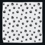 """Black Paw Prints Pattern Bandana<br><div class=""""desc"""">Show how much you love animals with this cute black paw print patterned bandana. Also looks awesome with other lighter backgrounds. Bet your pet will look adorable wearing it!</div>"""