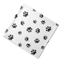 Black Paw Prints Pattern Bandana