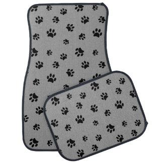 Black Paw Prints Pattern Car Mat